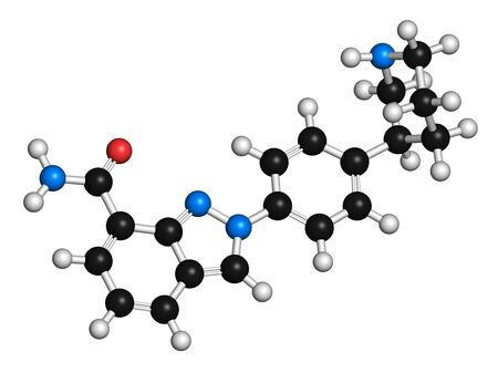 Niraparib cancer drug molecule (PARP inhibitor). 3D rendering. Atoms are represented as spheres with conventional colour coding: hydrogen (white),carbon (black),nitrogen (blue),oxygen (red)