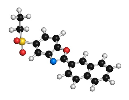 Ezutromid Duchene muscular dystrophy drug molecule. Activator of utrophin. 3D rendering. Atoms are represented as spheres with conventional colour coding: hydrogen (white),carbon (black),nitrogen (blue),oxygen (red),sulfur (yellow)
