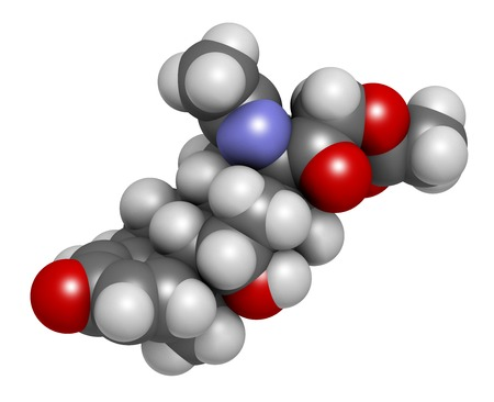 Deflazacort glucocorticoid drug molecule. 3D rendering. Atoms are represented as spheres with conventional colour coding: hydrogen (white),carbon (grey),nitrogen (blue),oxygen (red)