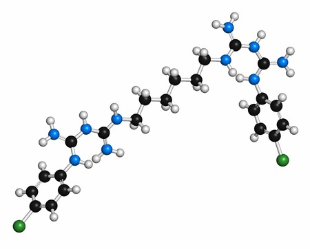 enjuague bucal: Chlorhexidine antiseptic molecule. Atoms are represented as spheres with conventional colour coding: hydrogen (white),carbon (grey),nitrogen (blue),chlorine (green)