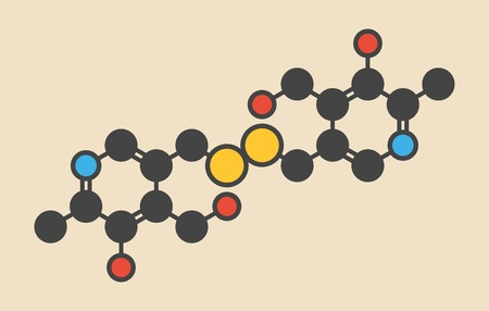 Pyritinol (pyridoxine disulfide) cognitive and learning disorder drug molecule. Also used in nootropic dietary supplements. Stylized skeletal formula (chemical structure): Atoms are shown as color-coded circles: hydrogen (hidden),carbon (grey),oxygen (red