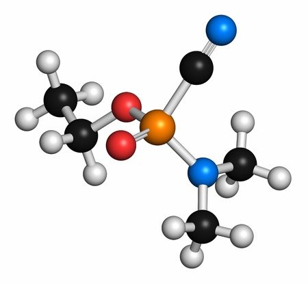 Tabun nerve agent molecule (chemical weapon). Atoms are represented as spheres with conventional colour coding: hydrogen (white),carbon (grey),oxygen (red),phosphorus (orange),nitrogen (blue)