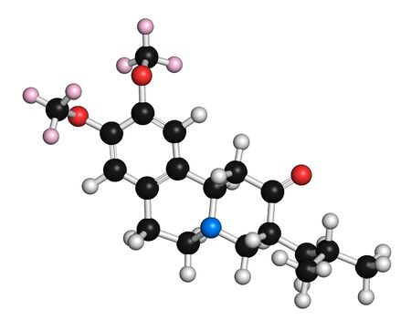 nitrogen: Deutetrabenazine Huntington disease drug molecule. 3D rendering. Atoms are represented as spheres with conventional colour coding: hydrogen (white),carbon (black),nitrogen (blue),oxygen (red),deuterium (light pink)