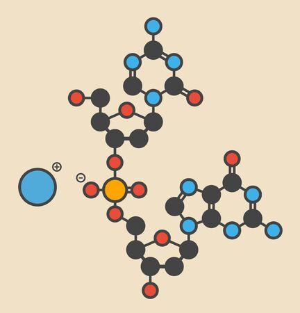 Guadecitabine cancer drug molecule (DNA methyltransferase inhibitor). Stylized skeletal formula (chemical structure): Atoms are shown as color-coded circles: hydrogen (hidden),carbon (grey),nitrogen (blue),oxygen (red),phosphorus (orange)