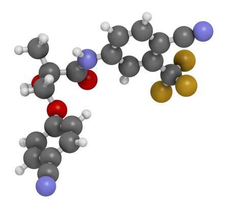 Enobosarm drug molecule. Selective androgen receptor modulator (SARM) that is also used in sports doping. 3D rendering. Atoms are represented as spheres with conventional colour coding: hydrogen (white),carbon (grey),nitrogen (blue),oxygen (red),fluorine