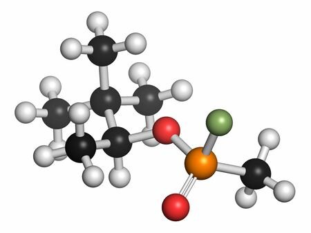 Soman nerve agent molecule (chemical weapon). Atoms are represented as spheres with conventional colour coding: hydrogen (white),carbon (grey),oxygen (red),phosphorus (orange),fluorine (light green) LANG_EVOIMAGES