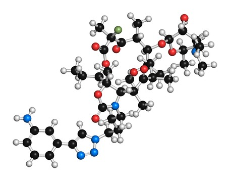 Solithromycin antibiotic drug molecule. 3D rendering. Atoms are represented as spheres with conventional colour coding: hydrogen (white),carbon (black),nitrogen (blue),oxygen (red),fluorine (light green)