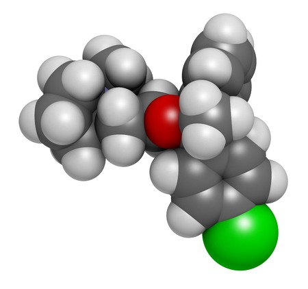 Clemastine (meclastine) antihistamine drug molecule. Used to treat allergy and itching. 3D rendering. Atoms are represented as spheres with conventional colour coding: hydrogen (white),carbon (grey),nitrogen (blue),oxygen (red),chlorine (green)