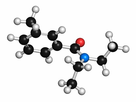 meta: DEET (diethyltoluamide,N,N-Diethyl-meta-toluamide) insect repellent molecule. Atoms are represented as spheres with conventional colour coding: hydrogen (white),carbon (grey),oxygen (red),nitrogen (blue)