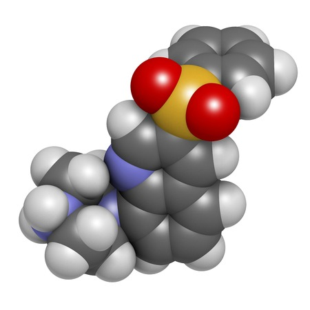 acetylcholine: Intepirdine Alzheimers disease drug molecule. 3D rendering. Atoms are represented as spheres with conventional colour coding: hydrogen (white),carbon (grey),nitrogen (blue),oxygen (red),sulfur (yellow) LANG_EVOIMAGES