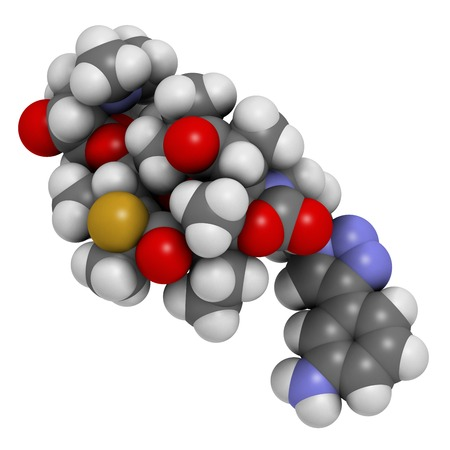 Solithromycin antibiotic drug molecule. 3D rendering. Atoms are represented as spheres with conventional colour coding: hydrogen (white),carbon (grey),nitrogen (blue),oxygen (red),fluorine (gold)