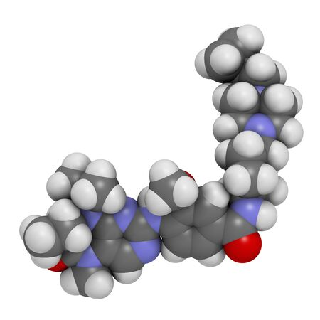 Volasertib cancer drug molecule (PLK1 inhibitor). 3D rendering. Atoms are represented as spheres with conventional colour coding: hydrogen (white),carbon (grey),nitrogen (blue),oxygen (red)