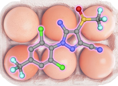 langosta: Fipronil insecticide molecule with eggs