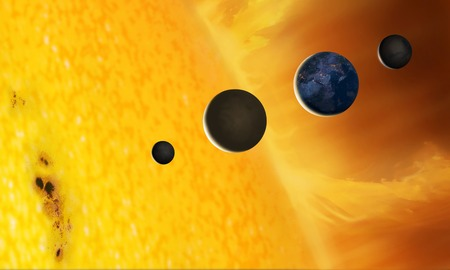 Sun and terrestrial planets,illustration