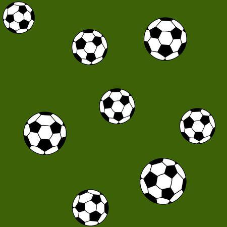 futbol infantil: Balones de f�tbol sobre un fondo verde, vector.