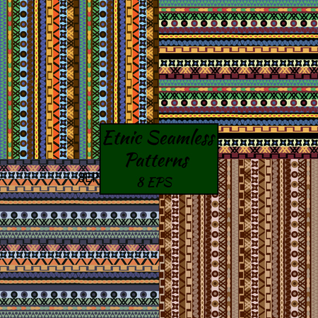 stripes pattern: Seamless texture in boho style, ethnic patterns. Use for fabric, wallpaper, interior decoration. Four colors, vector