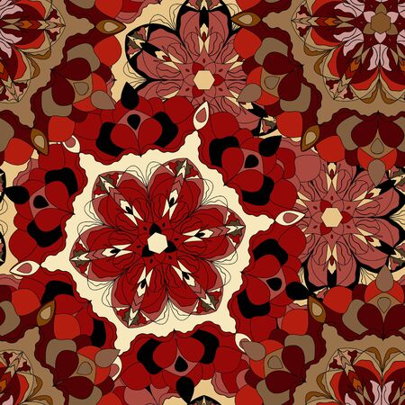 lush: Vector seamless pattern with lush flowers. Black and red. Boho style, mandala Illustration