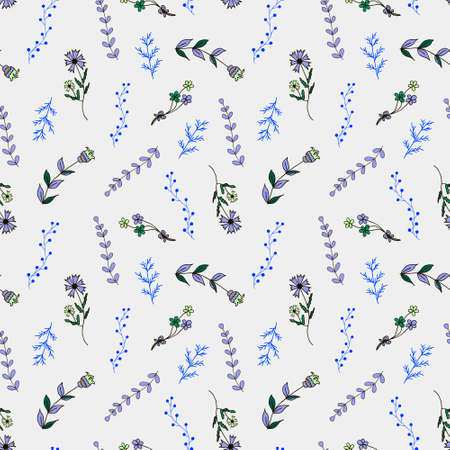 country style: Seamless pattern with flowers and branches. Hand-drawn, country style, vector. Use for fabric, paper goods, cards, gadgets, web page background, pattern fills and so much more Illustration