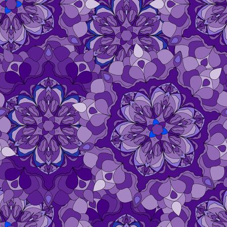 mandalas: Seamless pattern with lilac mandalas Illustration