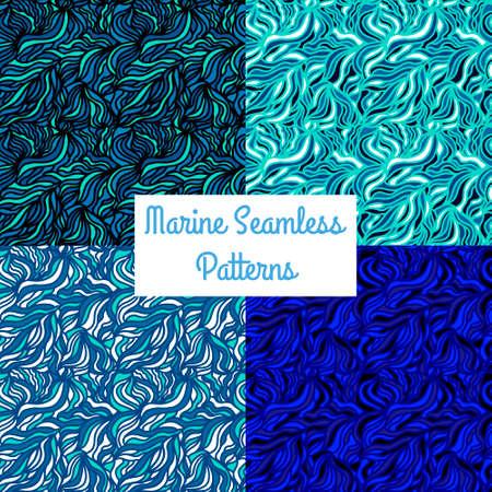 ultramarine blue: Seamless texture with waves. Marine pattern