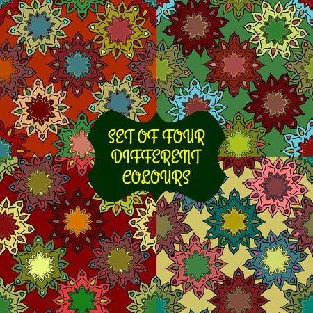 kaleidoscopic: Seamless texture of abstract flowers. Set of four colors. Can be used as print on fabric, wallpaper, background, wrapping, paper goods