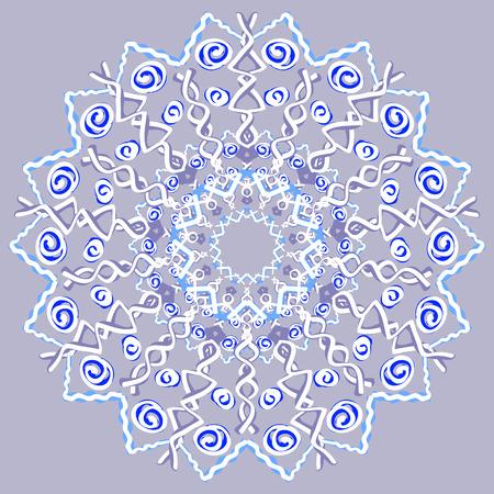 whiteblue: White-blue openwork mandala, vector. Lace, snowflake