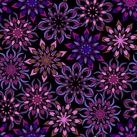 pink and black: Abstract flowers seamless pattern, vector. Black, pink, lilac tones Illustration