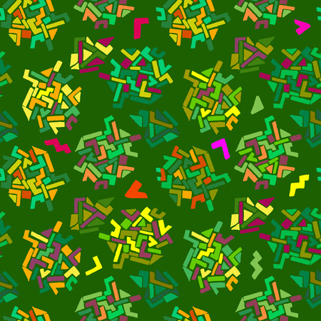 dcor: Geometric patterns on a green background. Abstract seamless pattern. Geometric texture. Hand drawn, vector. Good for fabric design, wrapping paper, background, childrens products, surface design Illustration