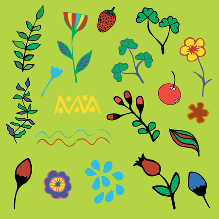 dcor: Set of plant elements, childrens style. Berries, herbs and flowers, vector. Illustration