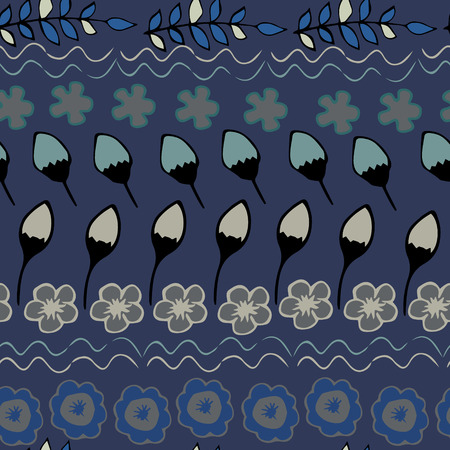 grecian: Floral seamless pattern, vector. Seamless texture in ethnic style. Blue and gray colors