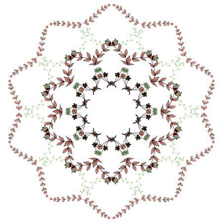braided: Braided flower pattern, abstract pattern, wreath Illustration