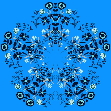 cor: Circular floral design in blue and white colors. It can be used as packaging design, print on clothing, childrens products, products for gardening and much more Illustration