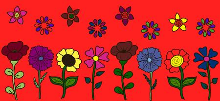 fleurs des champs: floral banner horizontal. Wildflowers dans une rangée, un style enfants