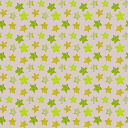 Seamless pattern with green stars. Stilized for children products. Bright background, vector.