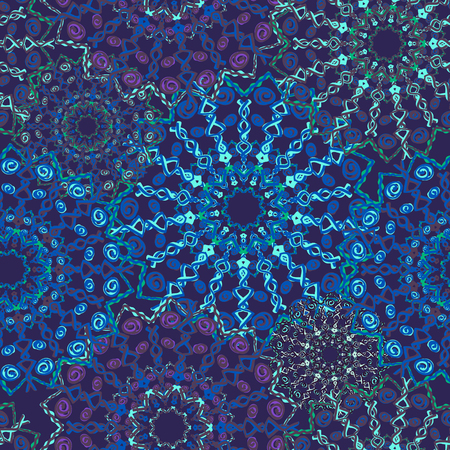 Beautiful seamless pattern in oriental style. Texture of blue tones, vector. Arabic, Indian, ottoman motifs. Circle element in vector. Kaleidoscope, yoga design