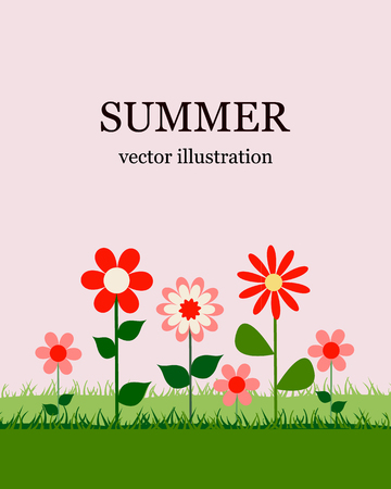 Summer season design, with garden flowers Illustration.