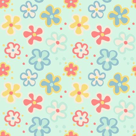 Seamless pattern with cute cartoon flowers, vector