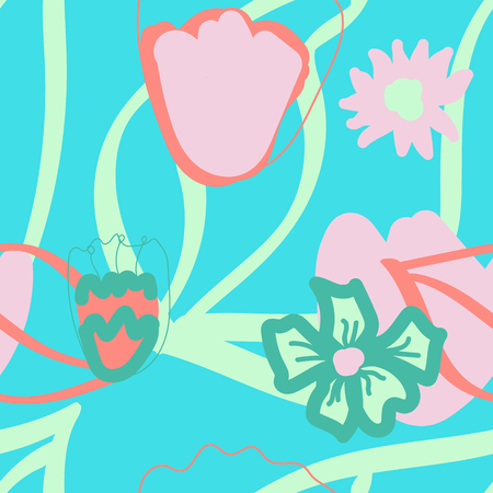 Floral seamless pattern in doodle style, vector