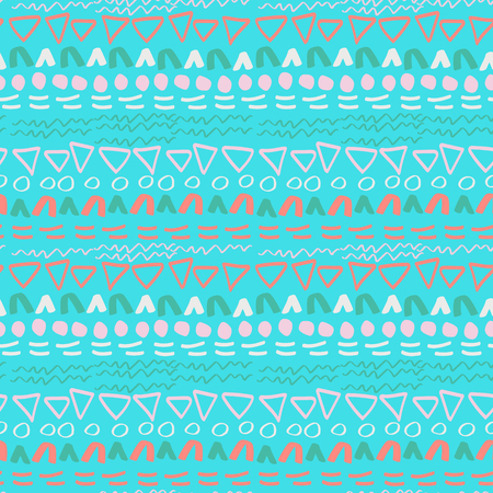 Geometric abstract seamless pattern, vector. Hand-drawn doodle texture