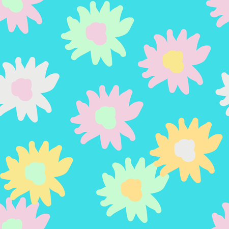 Seamless pattern for children with cute hand-drawn flowers, vector