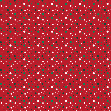 Vector polka dot pattern in red, green and white colors