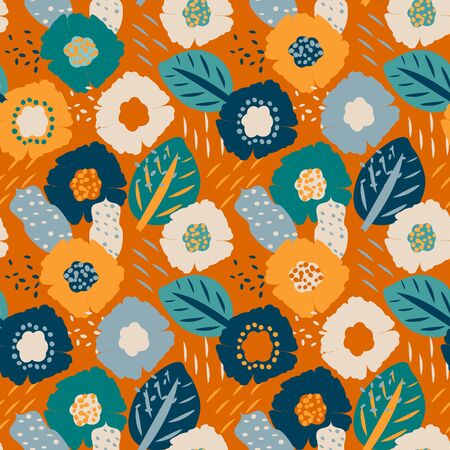 Colorful seamless pattern with abstract floral motif, vector. Seamless textile design with bright colorful flowers. Print on fabric, wallpaper and more