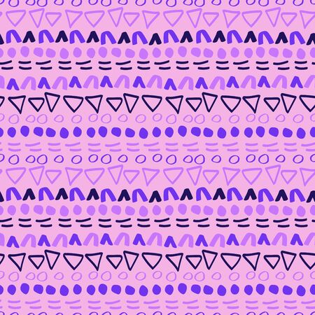 Cute hand-drawn geometric seamless texture, vector. Good for surface decor, print on fabric, cover and more Ilustrace