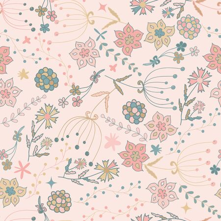 seamless floral pattern for children, vector