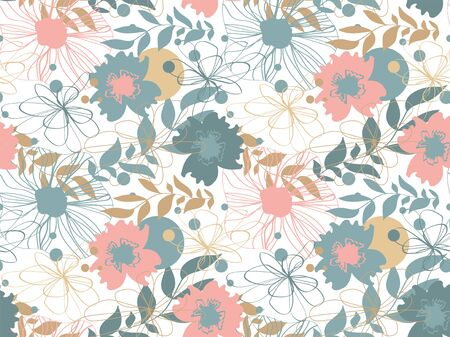 Vector seamless floral pattern with flowers. Texture with flowers and plants. Floral ornament. 写真素材 - 130040114