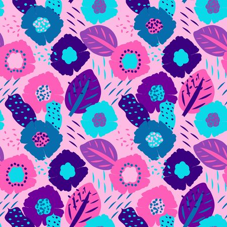 Seamless floral pattern with flowers and leaves, vector. Colorful seamless pattern with abstract floral motif. Print on fabric, wallpaper and more Ilustrace