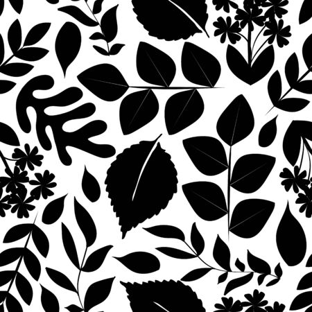 Botanical black and white seamless pattern with leaves, vector Standard-Bild - 130040141