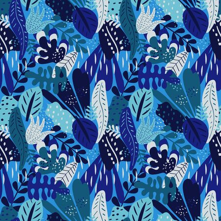 Botanical tropical seamless pattern in blue colors, vector 写真素材 - 130040216
