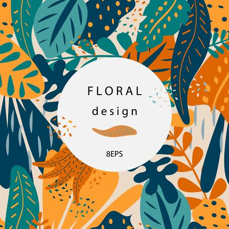 Tropical floral background with place for your text. Colorful background with tropical plants, vector 写真素材 - 130040224