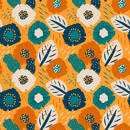 Colorful seamless pattern with abstract floral motif, vector. Seamless textile design with bright colorful flowers. Print on fabric, wallpaper and more 写真素材 - 130040242
